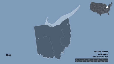 Shape of Ohio, state of Mainland United States, with its capital isolated on solid background. Distance scale, region preview and labels. Colored elevation map. 3D rendering
