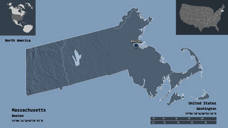 Shape of Massachusetts, state of Mainland United States, and its capital. Distance scale, previews and labels. Colored elevation map. 3D rendering Reklamní fotografie