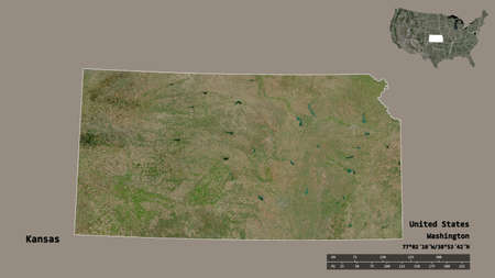 Shape of Kansas, state of Mainland United States, with its capital isolated on solid background. Distance scale, region preview and labels. Satellite imagery. 3D rendering Stock fotó