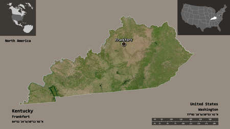 Shape of Kentucky, state of Mainland United States, and its capital. Distance scale, previews and labels. Satellite imagery. 3D rendering