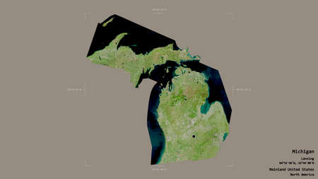 Area of Michigan, state of Mainland United States, isolated on a solid background in a georeferenced bounding box. Labels. Satellite imagery. 3D rendering