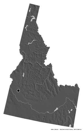 Shape of Idaho, state of Mainland United States, with its capital isolated on white background. Bilevel elevation map. 3D rendering