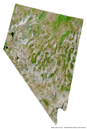 Shape of Nevada, state of Mainland United States, with its capital isolated on white background. Satellite imagery. 3D rendering