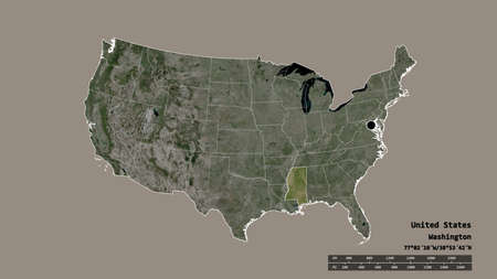 Desaturated shape of Mainland United States with its capital, main regional division and the separated Mississippi area. Labels. Satellite imagery. 3D rendering 版權商用圖片