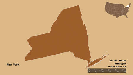 Shape of New York, state of Mainland United States, with its capital isolated on solid background. Distance scale, region preview and labels. Composition of patterned textures. 3D rendering