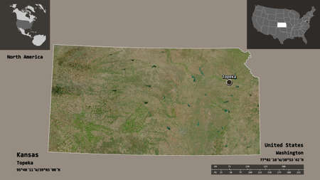 Shape of Kansas, state of Mainland United States, and its capital. Distance scale, previews and labels. Satellite imagery. 3D rendering Stock fotó