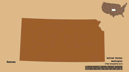 Shape of Kansas, state of Mainland United States, with its capital isolated on solid background. Distance scale, region preview and labels. Composition of patterned textures. 3D rendering