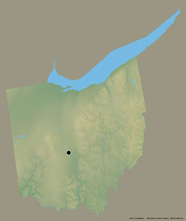 Shape of Ohio, state of Mainland United States, with its capital isolated on a solid color background. Topographic relief map. 3D rendering Stock Photo