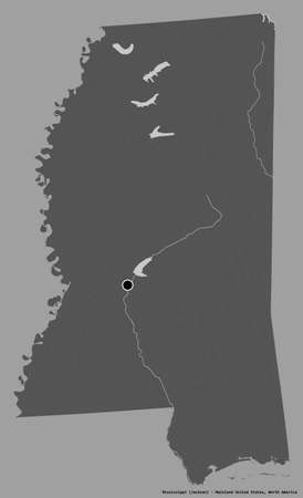 Shape of Mississippi, state of Mainland United States, with its capital isolated on a solid color background. Bilevel elevation map. 3D rendering 版權商用圖片