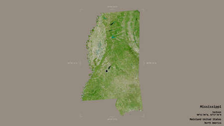 Area of Mississippi, state of Mainland United States, isolated on a solid background in a georeferenced bounding box. Labels. Satellite imagery. 3D rendering