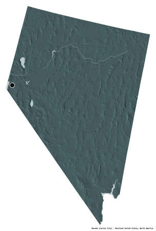 Shape of Nevada, state of Mainland United States, with its capital isolated on white background. Colored elevation map. 3D rendering
