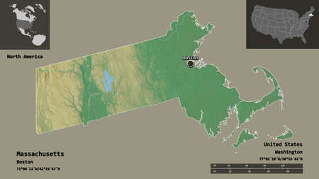 Shape of Massachusetts, state of Mainland United States, and its capital. Distance scale, previews and labels. Topographic relief map. 3D rendering