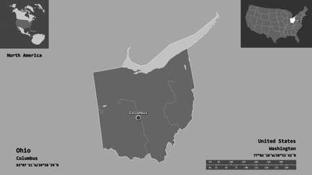 Shape of Ohio, state of Mainland United States, and its capital. Distance scale, previews and labels. Bilevel elevation map. 3D rendering