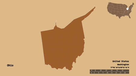 Shape of Ohio, state of Mainland United States, with its capital isolated on solid background. Distance scale, region preview and labels. Composition of patterned textures. 3D rendering Stock Photo