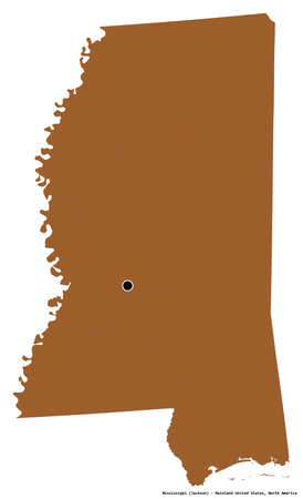Shape of Mississippi, state of Mainland United States, with its capital isolated on white background. Composition of patterned textures. 3D rendering