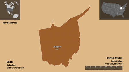 Shape of Ohio, state of Mainland United States, and its capital. Distance scale, previews and labels. Composition of patterned textures. 3D rendering Stock Photo