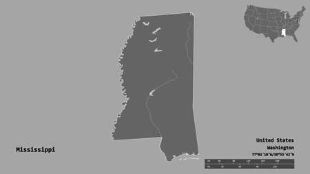 Shape of Mississippi, state of Mainland United States, with its capital isolated on solid background. Distance scale, region preview and labels. Bilevel elevation map. 3D rendering