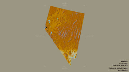 Area of Nevada, state of Mainland United States, isolated on a solid background in a georeferenced bounding box. Labels. Topographic relief map. 3D rendering