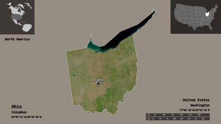 Shape of Ohio, state of Mainland United States, and its capital. Distance scale, previews and labels. Satellite imagery. 3D rendering Stock Photo