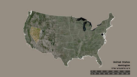 Desaturated shape of Mainland United States with its capital, main regional division and the separated Nevada area. Labels. Satellite imagery. 3D rendering