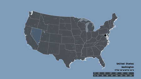Desaturated shape of Mainland United States with its capital, main regional division and the separated Nevada area. Labels. Colored elevation map. 3D rendering Reklamní fotografie - 154479521