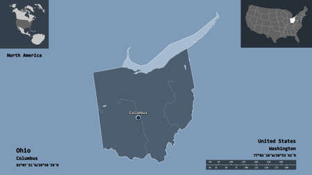 Shape of Ohio, state of Mainland United States, and its capital. Distance scale, previews and labels. Colored elevation map. 3D rendering