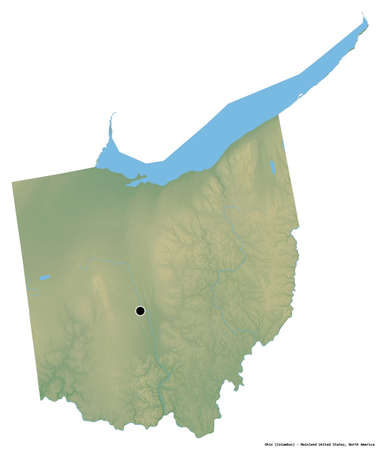 Shape of Ohio, state of Mainland United States, with its capital isolated on white background. Topographic relief map. 3D rendering