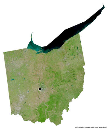 Shape of Ohio, state of Mainland United States, with its capital isolated on white background. Satellite imagery. 3D rendering