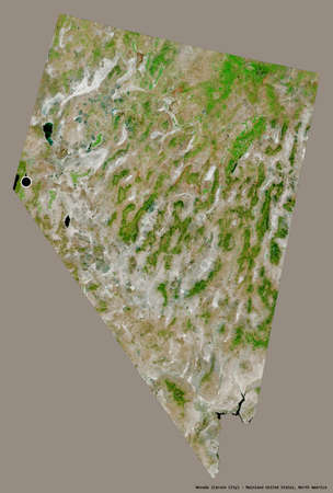 Shape of Nevada, state of Mainland United States, with its capital isolated on a solid color background. Satellite imagery. 3D rendering