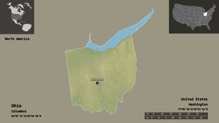 Shape of Ohio, state of Mainland United States, and its capital. Distance scale, previews and labels. Topographic relief map. 3D rendering