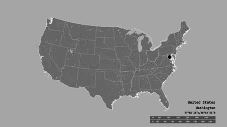 Desaturated shape of Mainland United States with its capital, main regional division and the separated Ohio area. Labels. Bilevel elevation map. 3D rendering