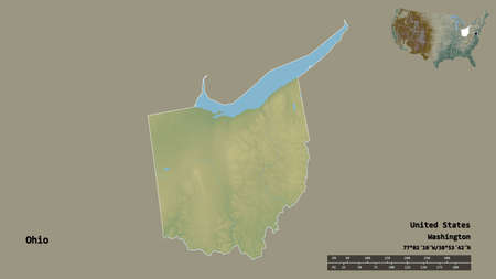 Shape of Ohio, state of Mainland United States, with its capital isolated on solid background. Distance scale, region preview and labels. Topographic relief map. 3D rendering