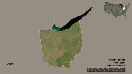 Shape of Ohio, state of Mainland United States, with its capital isolated on solid background. Distance scale, region preview and labels. Satellite imagery. 3D rendering Stock Photo