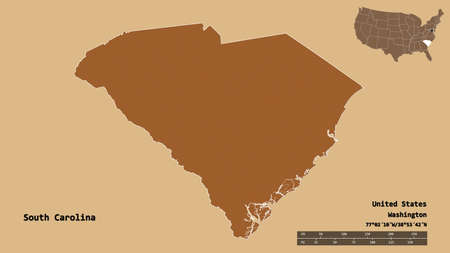 Shape of South Carolina, state of Mainland United States, with its capital isolated on solid background. Distance scale, region preview and labels. Composition of patterned textures. 3D rendering