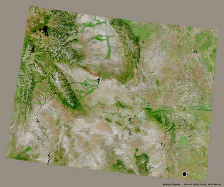 Shape of Wyoming, state of Mainland United States, with its capital isolated on a solid color background. Satellite imagery. 3D rendering