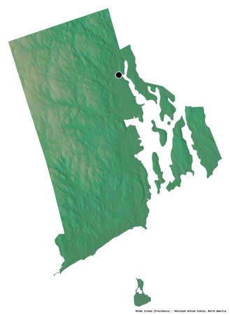 Shape of Rhode Island, state of Mainland United States, with its capital isolated on white background. Topographic relief map. 3D rendering