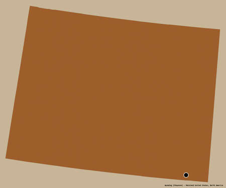 Shape of Wyoming, state of Mainland United States, with its capital isolated on a solid color background. Composition of patterned textures. 3D rendering