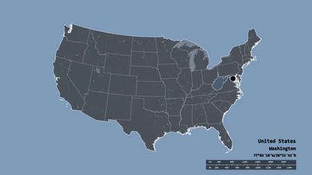 Desaturated shape of Mainland United States with its capital, main regional division and the separated West Virginia area. Labels. Colored elevation map. 3D rendering