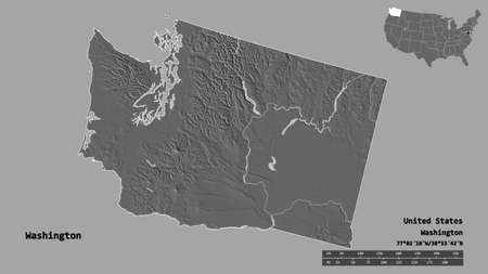 Shape of Washington, state of Mainland United States, with its capital isolated on solid background. Distance scale, region preview and labels. Bilevel elevation map. 3D rendering