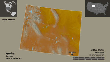 Shape of Wyoming, state of Mainland United States, and its capital. Distance scale, previews and labels. Topographic relief map. 3D rendering