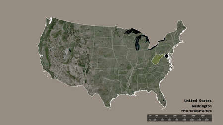 Desaturated shape of Mainland United States with its capital, main regional division and the separated West Virginia area. Labels. Satellite imagery. 3D rendering