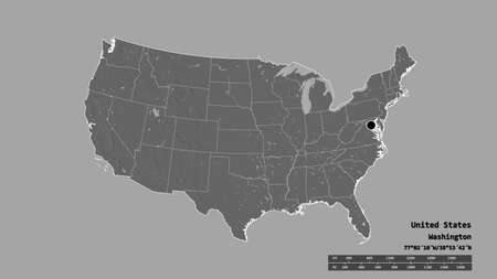 Desaturated shape of Mainland United States with its capital, main regional division and the separated Rhode Island area. Labels. Bilevel elevation map. 3D rendering Stock Photo