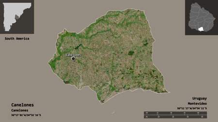 Shape of Canelones, department of Uruguay, and its capital. Distance scale, previews and labels. Satellite imagery. 3D rendering