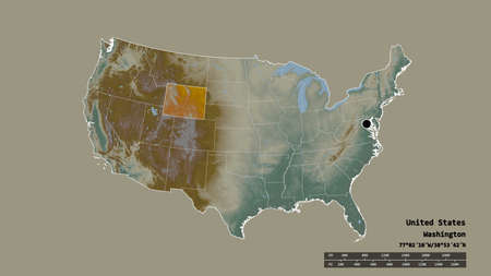 Desaturated shape of Mainland United States with its capital, main regional division and the separated Wyoming area. Labels. Topographic relief map. 3D rendering