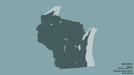 Area of Wisconsin, state of Mainland United States, isolated on a solid background in a georeferenced bounding box. Labels. Colored elevation map. 3D rendering