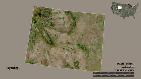 Shape of Wyoming, state of Mainland United States, with its capital isolated on solid background. Distance scale, region preview and labels. Satellite imagery. 3D rendering