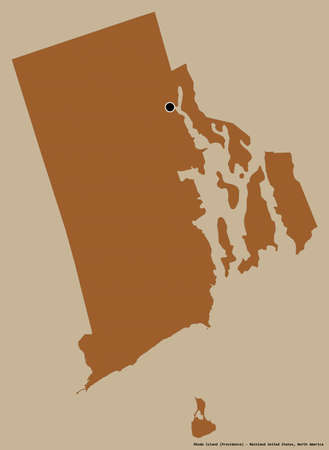 Shape of Rhode Island, state of Mainland United States, with its capital isolated on a solid color background. Composition of patterned textures. 3D rendering Stock Photo
