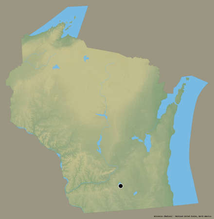 Shape of Wisconsin, state of Mainland United States, with its capital isolated on a solid color background. Topographic relief map. 3D rendering