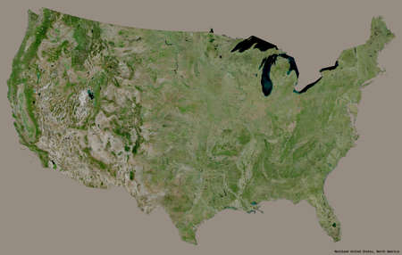 Shape of Mainland United States with its capital isolated on a solid color background. Satellite imagery. 3D rendering