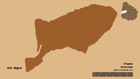 Shape of Río Negro, department of Uruguay, with its capital isolated on solid background. Distance scale, region preview and labels. Composition of patterned textures. 3D rendering